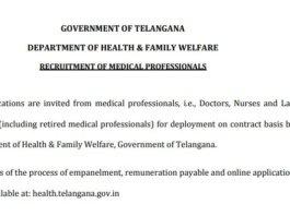 Telangana Health Department Jobs 2020